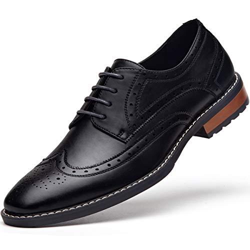 - Men's Black Dress Shoes Formal Lace Up Wingtip Oxford Shoes Black 8.5