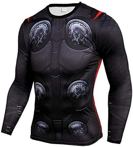 GYHS フィットネスMMAコンプレッションシャツ男性アニメボディービル長袖ワークアウト3DスーパーマンパニッシャーTシャツTシャツトップス (色 : NTC05, サイズ : Aisan XXL)