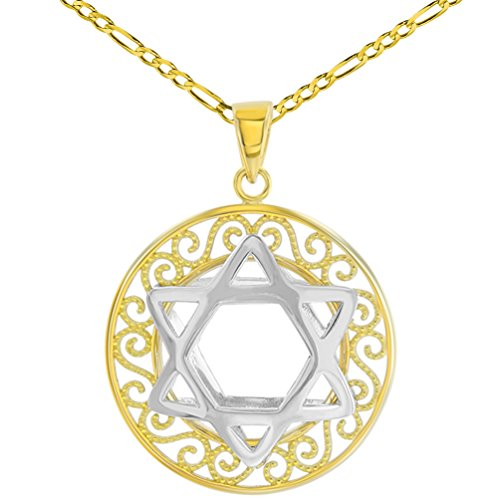 Polished 14K Two Tone Gold Round Filigree Star of David 3D Charm Pendant Figaro Necklace, (14k Gold 3d Filigree)