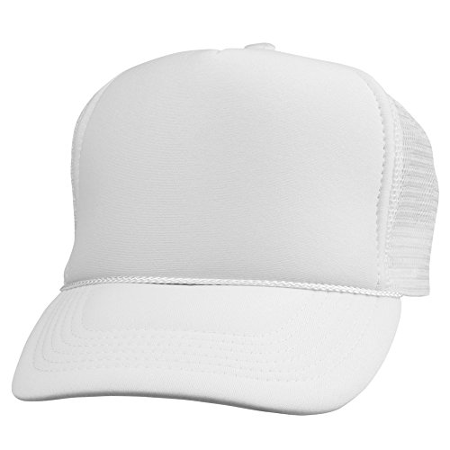 White Trucker Cap (DALIX Plain Trucker Hat in White)