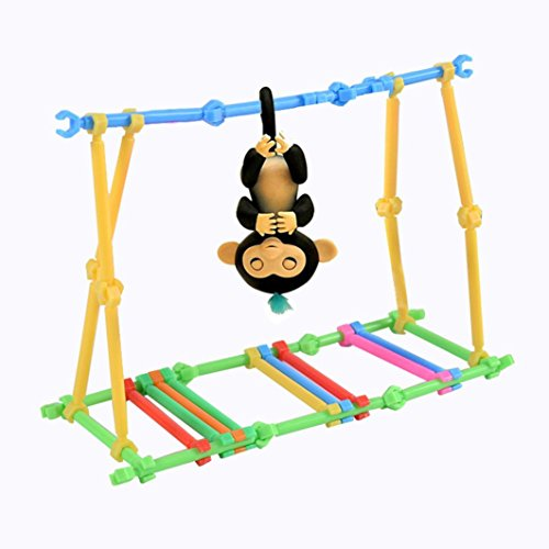 Diy Interactive Baby Monkey Playset Jungle Gym Accessories Case And Batteries  Interactive Monkey Cute Gym Playground Swingbar Baby Monkey Swing Set Climbing Stand Seesaw Playset  Swing