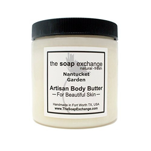 Nantucket Natural Oils - The Soap Exchange Body Butter - Nantucket Garden Scent - Hand Crafted 4 fl oz/120 ml Natural Artisan Skin Care, Shea Butter, Aloe Vera, Nourish, Moisturize, Protect. Made in the USA.