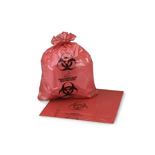 Medegen Medical Products 2634 Red/Black Biohazardous Waste Bags, LLDPE Film, Flat Pack, 1.25 mL Gauge, 5-7 gal Capacity, 19'' x 23'' (Pack of 400) by Medegen Medical Products