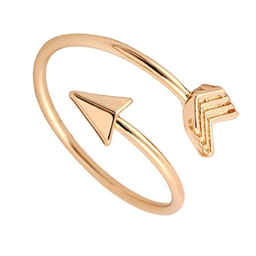 BRBAM Adjustable Love Struck Arrow Ring High Polished Wrap Ring for Woman (Gold) (Wrap Arrow Ring)