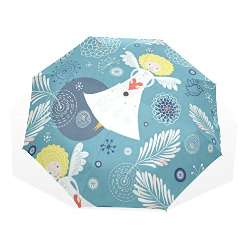 Umbrella Tropical Floral Flowers Angel Folding Sun Protection Anti-UV Umbrella Windproof Lightweight for -