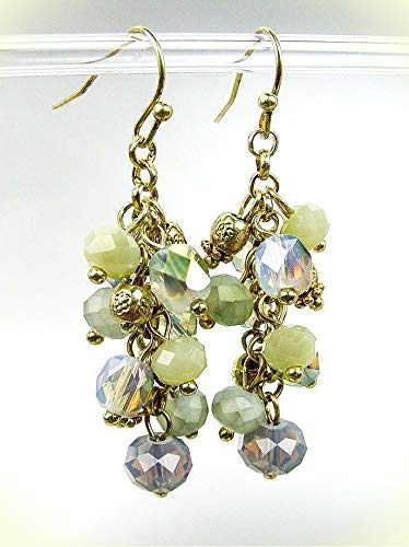 GORGEOUS Urban Artisanal Antique Gold Smoky Lavender Crystals Earrings For Women Set 952P