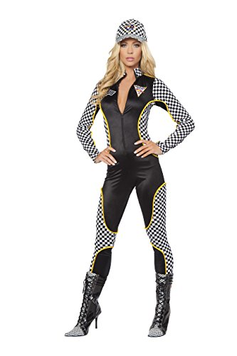 1 Piece Race Car Driver Black & White Jumpsuit Party (Danica Patrick Costumes Women)