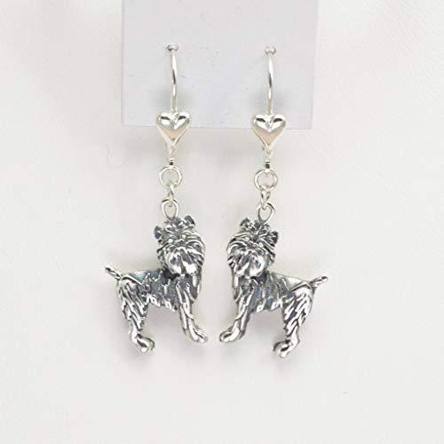 Sterling Silver Brussels Griffon Earrings, Silver Brussels Griffon Jewelry, Custom Brussels Griffon Jewelry fr Donna Pizarro