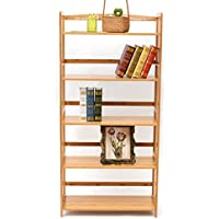 Bamboo 5-Tier Bookshelf Multipurpose Display Rack Landing Storage Shelf,Simple Removable Bookcase 100% Natural