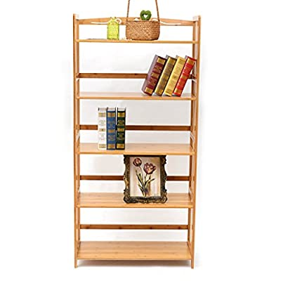 LSQH Bamboo 5-Tier Bookshelf Multipurpose Display Rack Landing Storage Shelf,Simple Removable Bookcase 100% Natural - High-quality Materials Book Rack: High quality natural bamboo and hardware accessories, health water-based paint, elegant qualities, natural eco-friendly materials with no smell Multifunction Usage Storage Rack: The Thicker layer, super load-bearing, can be used as bookcase shelves, blue X-ray, DVD, CD display shelving, kitchen storage rack, plant stand in living room, kitchen, bathroom, hallway, entryway, garage Bookshelf Dimension: Rack size 26.4 Lx10.6 Wx55 H inches - living-room-furniture, living-room, bookcases-bookshelves - 41lfQ64URhL. SS400  -