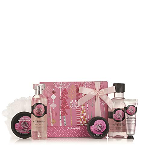 The Body Shop British Rose Premium Collection Gift Set, 4pc Paraben-Free Bath and Body Gift ()