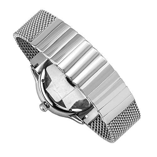 (Men's Silver Shark Mesh Watch Band Metal Replacement Stainless Steel 24mm Watch Strap, Flexible Milanese Sport Band with Quick Release)