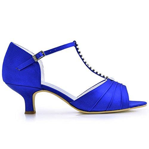 Tacón Sandalias Punta Noche 035 Azul Satin ElegantPark Baile Zapatos Rhinestones Bajo Mujer de Abierta EL Vestir qntAxIwY