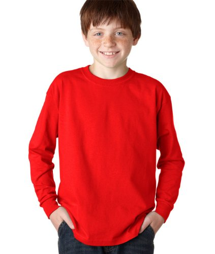 Gildan Ultra Cotton Youth T-shirt (Gildan - Youth Ultra Cotton Long Sleeve T-Shirt. >> L,Red)