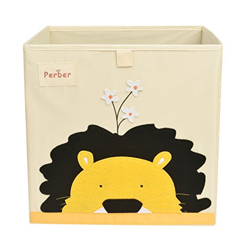 Collapsible Storage Cubes Bin 13''x13''x13'',Decorative Foldable Oxford Storage Box Baskets Containers- Large Organizer for Nursery Toys,Kids Room,Towels,Baby Clothes, Beige-Lion by Perber