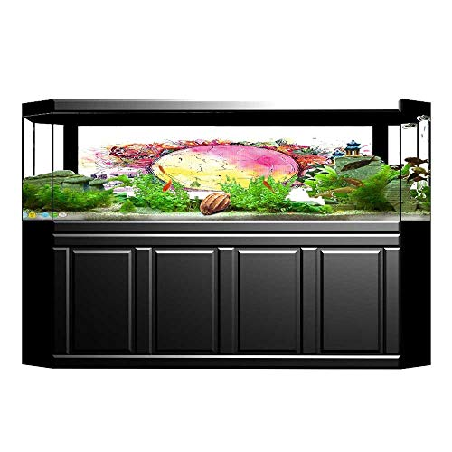 JiahongPan Background Fish Tank Sticker Ornate Skeletons with Egg and Flower Butter Calavera Fiesta Spooky PVC Paper Cling Decals Sticker L35.4 x H19.6