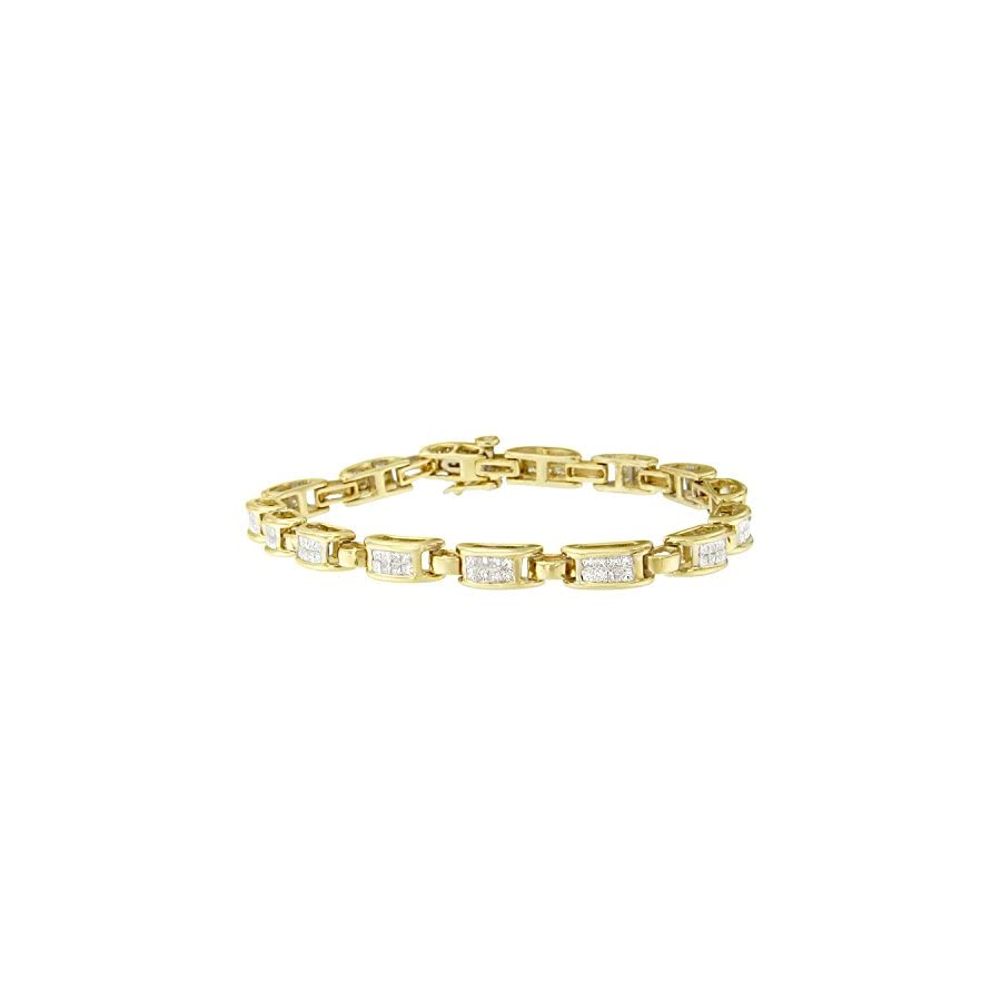 Original Classics 14K Yellow Gold Princess Cut Diamond Links of Love Bracelet (2.00 cttw, H I Color, SI2 I1 Clarity)