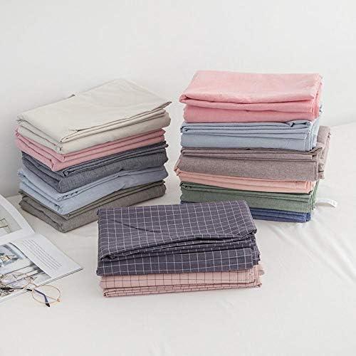 Coton lavé Japonais Pur Coton Couleur Unie Coton à Carreaux Couvre-lit et Drap de lit 1.5x2mfittedsheet qianFen
