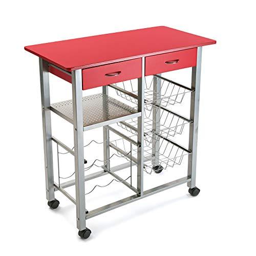 Versa 15810415 Carro de Cocina y botellero Rojo de Metal con cajones, 82x40x76cm, 4 Ruedas, Cestas, 82 x 40 x 7