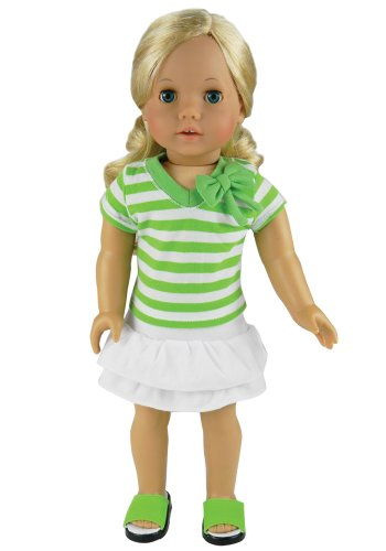 18 Inch Doll Clothes, Stylish Striped Shirt in Green & White plus a White Layered Skirt