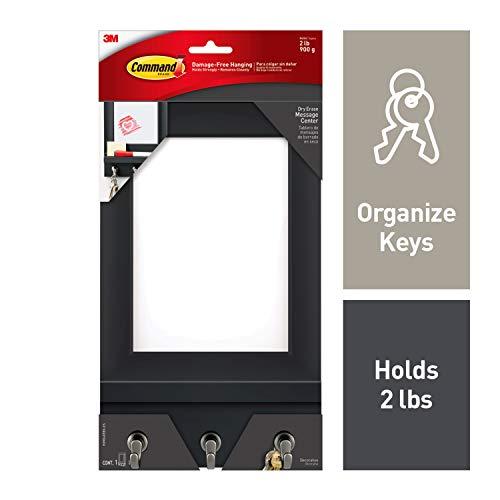(Command Dry Erase Message Center, Slate, 1-Message Center with Key Hooks, 8-Medium Strips (HOM24DEBS-ES))