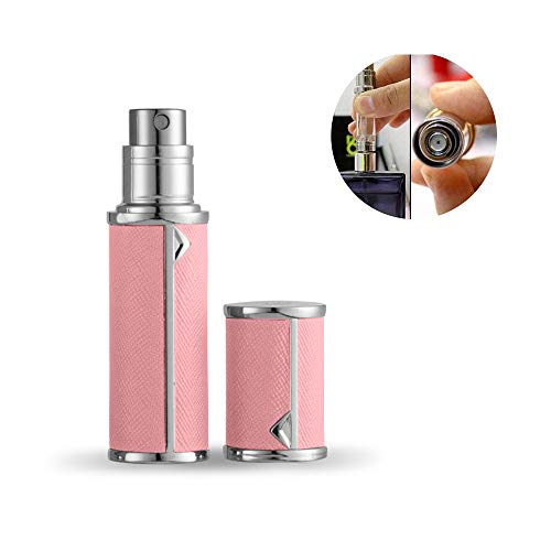 Yeejok Refillable Perfume Bottle Atomizer for Travel, Portable Easy Pump Refill Perfume Leather Spray Bottle for Men and Women with 5ml Pocket Size, Pink