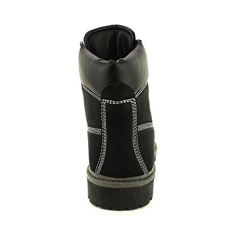 NEU Damen / Damen schwarz Nuck Schnür Stiefel STIEFEL profilierte Sohle - schwarz - UK Größen 3-9