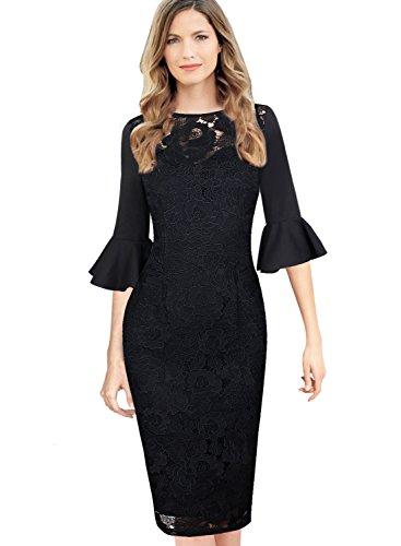 VfEmage Women Elegant Flare Sleeve Polka Dot Vintage Work Bodycon Dress 8778 Blk S