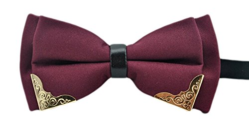 MENDENG Men's Gold Metal Burgundy Black PU Leather Satin Bow Ties Formal Bowtie