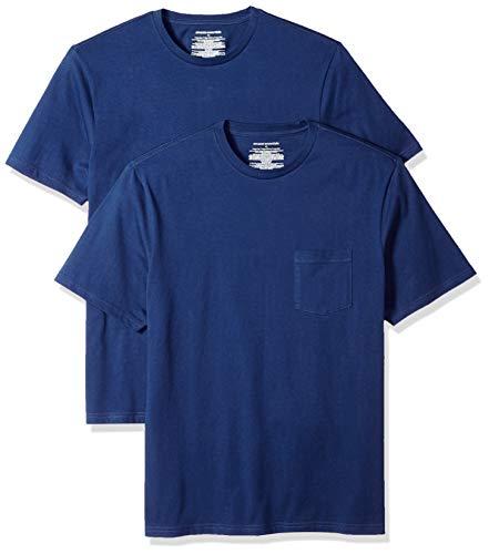 Amazon Essentials Men's 2-Pack Loose-fit Crew Pocket T-Shirt, Blue, Large (Short Sleeve Tee Regular)