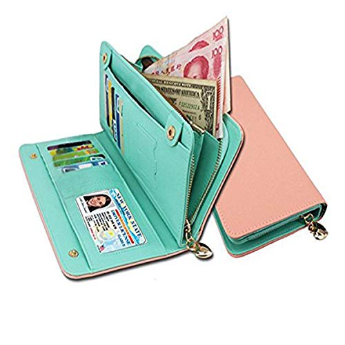 s for Women RFID Blocking Clutch Zipper Colorful Leather Long Purse Wrist Strap with Phone Pocket (Pink) ()