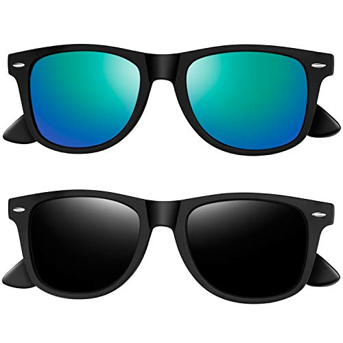 Joopin Polarized Sunglasses for Women - 2 Pack Retro Brand Designer Mens Sunglasses (Black+Green)