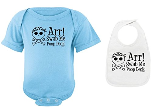 Decks Clothes (Funny Baby Clothes Arr Swab Me Poop Deck Pirate Light Blue Bodysuit and White Bib Bundle 6 Months)