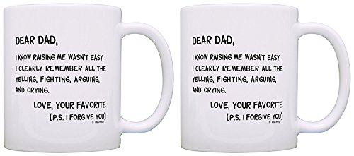 (Fathers Day Gifts for Dad Dear Dad Raising Me Wasn't Easy Perfect Gifts for Dad Gift Coffee Mug Tea Cup White)