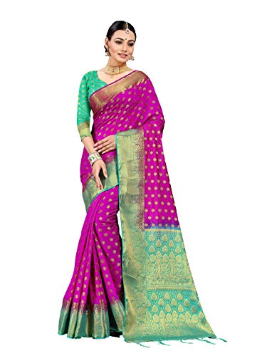 Magenta Saree - Sarees for Women Banarasi Art Silk Woven Saree l Indian Wedding Gift Sari with Unstitched Blouse Magenta