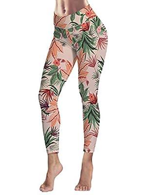 Women's Capris Printed Custom Leggings Pink Flower Pattern High Waist Yoga Running Workout Pants