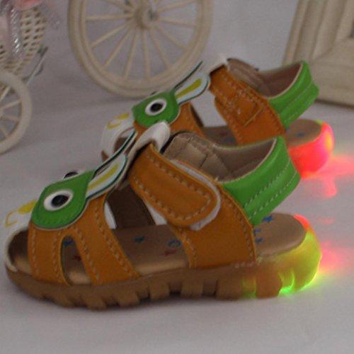 Hunpta Kleinkind scherzt Baby Jungen Herbst Schuhe mit blinkenden Lichter Sandelholz Karikatur Schuhen Grün