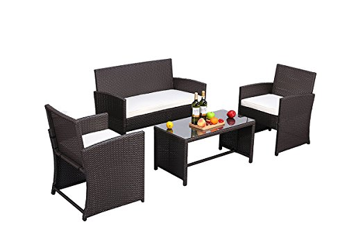 Do4U Outdoor Patio Furniture Set 4 Pcs PE Rattan Wicker Garden Sofa and Chairs Set with Beige Cushion With Table (Expresso Rattan+Beige Cushion) (Nook Couch Breakfast)
