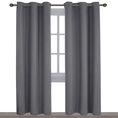 NICETOWN 3 Pass Microfiber Noise Reducing Thermal Insulated Solid Ring Top Blackout Window Curtains/Drapes (2 Panels,42 x 84 Inch,Gray) (Velour Curtains Red)