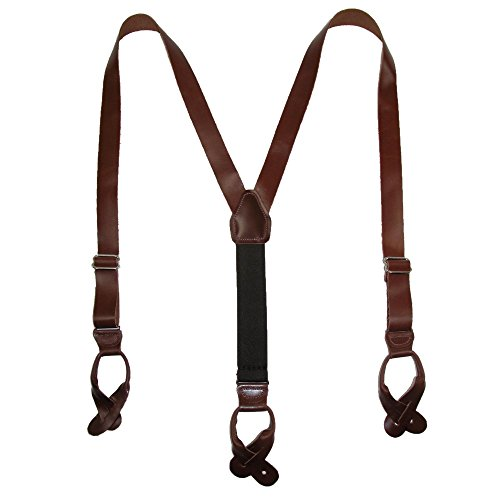 - CTM Men's Leather Button-End 1 Inch Suspenders, Brown