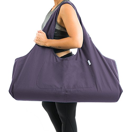 Yogiii Large Yoga Mat Bag | The YogiiiTotePRO | Large Yoga Mat Tote Sling Carrier with Side Pocket | Fits Mats (Imperial Purple)