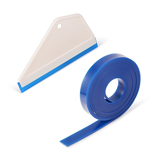FOSHIO 1Pack White Shower Squeegee Mirror Window Wiper Silicone Water Blades with 18-inch Length Silicone Replacement Blades for Home Kitchen Bathroom Window