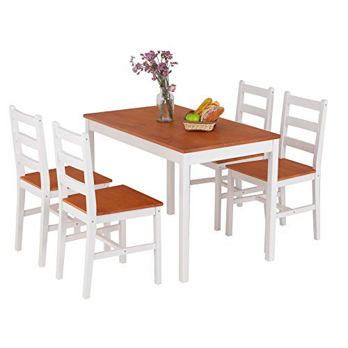 Mecor 5 Piece Wood Dining Table Set, Kitchen Table w/ 4 Chairs for Home Kitchen Breakfast Furniture (White/Orange)