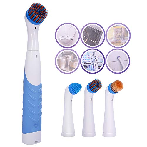(Super Sonic Scrubber Electric Cleaning Brush With Household All Purpose 4 Brush Heads Water Resistant)