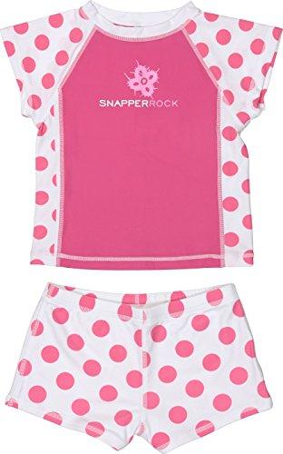 Snapper Rock Little Girls'  Short Sleeve Rash Top, Pink Spot, 2 by Snapper Rock