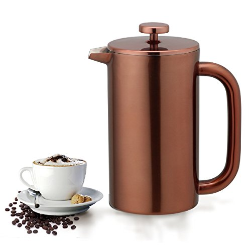 Highwin 8-Cup/34-Ounce Double Wall Insulated Stainless Steel French Coffee Press, Durable Coffee Tea Maker with Stainless Steel Plunger (Copper)