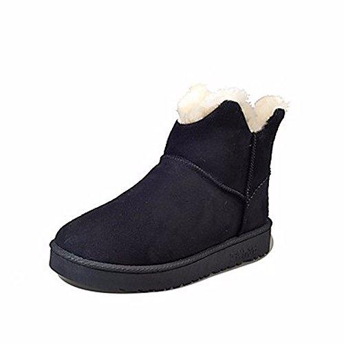 Bout Talon 5 5 Bottes Vert pour Un Plat Gris Neige Us8 Chaussures Bottes pour ZHUDJ Femmes Uk6 Eu39 Violet Black Noir Cn40 Rond D'hiver nzHC0xB