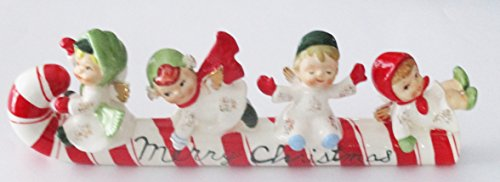 Lefton Candy - Vintage Lefton Merry Christmas Kids on Candy Cane Ceramic Decoration 626