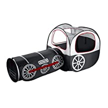 Kids Tent Play Tunnel ,OUTAD Play Tent with Tunnel Indoor/Outdoor Playhouse for Boys and Girls (Train Tent Black)