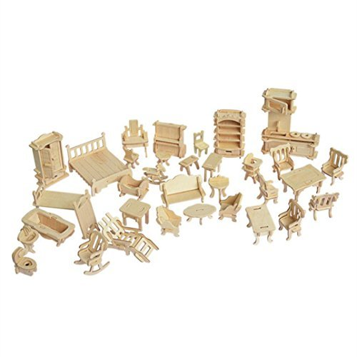 LoveInUSA 3D Furniture Puzzle, Wooden Furniture Dollhouse Furniture Dolls House Furniture Wooden Dolls House for Kids Adults Explore Creativity / Problem Solving